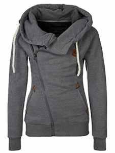 FANTIGO Mode Femmes Automne Hiver Sweats à Capuche Casual Hoodies Pullover Manches Longues Vestes Oblique Zippé Sweat-shirt(Gris foncé,M)