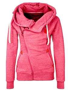 FANTIGO Mode Femmes Automne Hiver Sweats à Capuche Casual Hoodies Pullover Manches Longues Vestes Oblique Zippé Sweat-shirt(Rouge,L)