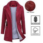Imperméable à Capuche Femme, Ponchon de Pluie, Trench Capuche Femme, Manteau de Pluie Raincoat Waterproof (Gris, Large)