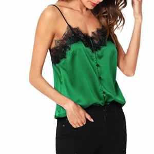 KaloryWee Débardeur – avec Taille Nouée – Personnage – Col Chemise Classique – Femme – Vert – 36