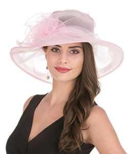 Lucky Leaf Chapeau d'église de Chapeau d'organza de Larges Femmes de Charme Floral de Chapeau pour la Soirée(1-Rose)