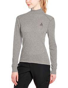 Odlo T- Shirt ML Active Warm col Droit Origina Manches Longues Femme, Mélange Gris, FR : L (Taille Fabricant : L)