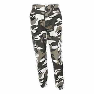 OVERDOSE Pantalon à Imprimé Camouflage, Femme Jogging Casual Sports Taille haute Trousers Jeans (EU:38=M, Gris)