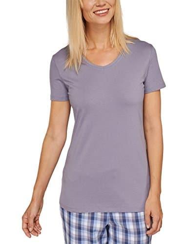 Schiesser 151504_Mix & Relax Shirt 1/2 Arm, Haut de pyjama Femme, Gris (Hellgrau 204), 46 (Taille fabricant: 3XL)