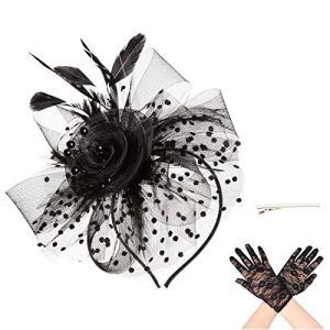 Sinamay Femmes élégantes Fascinator chapeau nuptiale plumes cheveux clip accessoires cocktail Royal Ascot(A6-Black)