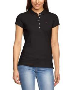 Tommy Hilfiger – New Chiara Str Pq Polo SSPolo – Femme – Noir (017 Masters Black) – FR : 36 (Taille fabricant : S)