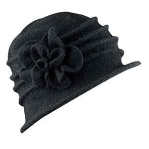 Chapeau Fedora Femme Hiver en Feutre, Brawdress Chapeau Laine Floppy avec Décoration Fleur Automne Chaud Hat Bonnets 9 Couleurs (Noir)