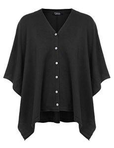 FISOUL Poncho Femme Cape Button Écharpe Cape Cardigan Couverture châle tricotée Couverture Black