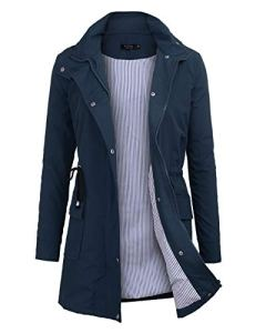 Imperméable à Capuche Femme, Ponchon de Pluie, Trench Capuche Femme, Manteau de Pluie Raincoat Waterproof (Bleu, Large)