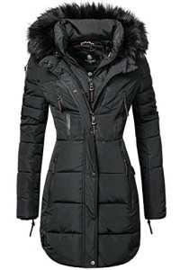 Marikoo Moonshine Manteau d'hiver pour Femme matelassé Long avec Un Large Noir M
