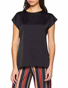 New Look Satin Front, T-Shirt Femme, Noir (Black), 40 (Taille Fabricant: 12)