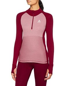 Odlo T- Shirt ML 1/2 Zip Active Warm REVELSTOKE Manches Longues Femme, Rumba Red/Mesa Rose, FR : S (Taille Fabricant : S)