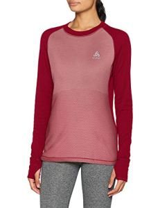 Odlo T- Shirt ML Active Revelstoke Manches Longues Femme, Rumba Red/Mesa Rose, FR : M (Taille Fabricant : M)