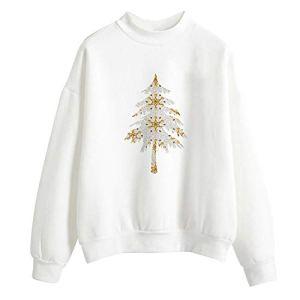 Pull de Noel Femme, Koly Christmas Sweat-Shirt Hiver Blanc Pullover Tops T-Shirt Femmes Dames Chemisier Hauts à Manches Longues Vêtements Noel Femme Impression Père Noël Sapin de Noël