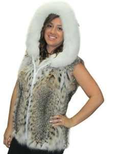 25″ lynx fourrure naturelle zip veste de renard attachée capuche bordée
