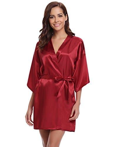 Aibrou Peignoir Satin Femme Robe De Chambre Kimono Femmes Sortie De
