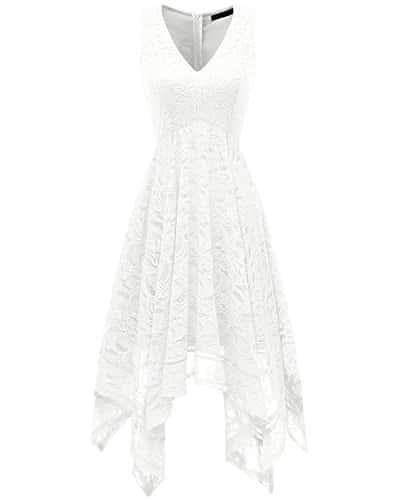 Bridesmay Robe de Soirée Cocktail Dentelle Florale Asymétrique Col en V sans Manche White 3XL