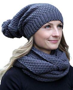 HILLTOP – Ensemble d'hiver de foulard d'hiver et bonnet assorti/Bonnet à pompon – différents modèles, Ensemble Hiver:gris foncé
