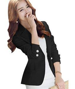 Kaiyei Femmes Automne Printemps Printemps Blazers et Vestes Travail Office Lady Costume Slim Office Femme Blazer Manteau Noir XL