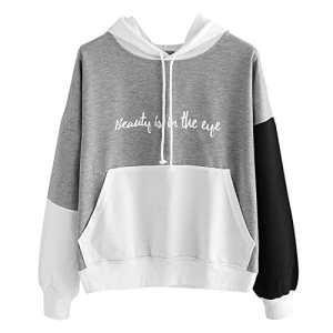 Lonshell Sweatshirt Femme Imprimé, Femmes Letters Manche Longue Sweat à Capuche Pullover Sweat-Shirt Chemisier
