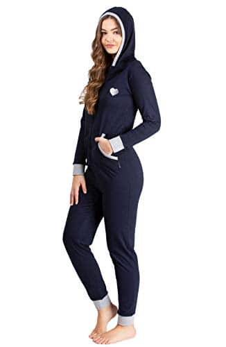maluuna – Jumpsuit pour Femme avec Bord-côtes au Niveau des Poignets et en Bas des Jambes, Größe:36/38, Color:Bleu foncé/Grisonnant