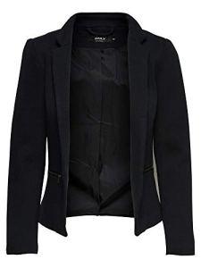 ONLY NOS Onlstory Maddy Mel Zip Blazer Noos TLR, Veste De Costume Femme, Noir (Black Detail:Solid), 38 (Taille Fabricant: 36)