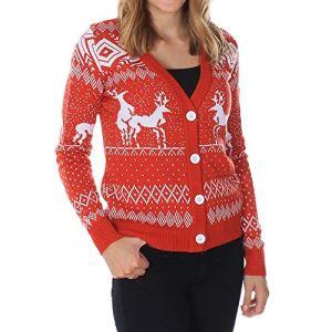 SANFASHION Soldes Pull de Noel Femme,Tops Haut Sport Casual Pull Chic Blouse Florale Flocon de Neige Sweatshirt Mode (XL, Rouge De noël)