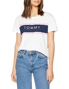 Tommy Jeans Femme Stripe Logo T-Shirt Manches Courtes Coque Blanc (Classic White 100) Small