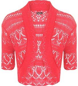 WearAll – Boléro Cardigan Tricoté Crochet à Manches Courtes – Hauts – Femme – Rose Fluorescent – 42-44