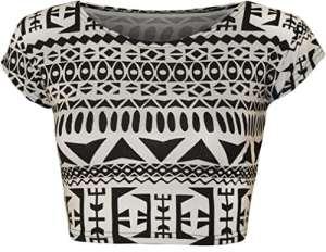 WearAll – Haut court à manches courtes avec beaucoup d'imprimés différents – Hauts – Femmes – Aztèque Noir – Blanc – 40-42