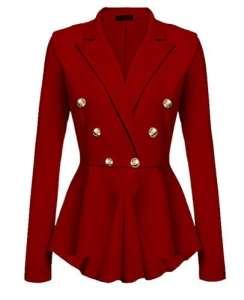 YuanDian Femme Automne Causal Double Breasted Manches Longues Veste Blazer Slim Fit Veste Tailleur Cintrée Habillée Costume Jacket Rouge XL
