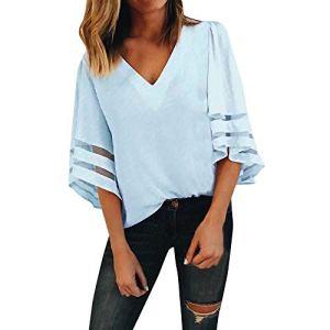 2018 EUZeo Printemps Automne Hiver Femmes Mode Décontractée Col en V Couleur Unie Manchon Cloche T-Shirt à Manches 3/4 Sweat-Shirt Pull-Over Blouse T-Shirt