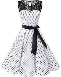 Bbonlinedress Vintage rétro 1950's Audrey Hepburn Robe de Soirée Cocktail sans Manches avec Dentelle année 50 Rockabilly White Black Dot M