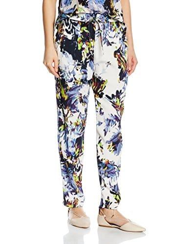 French Connection Kiki Palm Drape TIE Waste TRSR, Pantalon Femme, Multicolore (Brule Multi 90), M (Taille Fabricant: -14-)