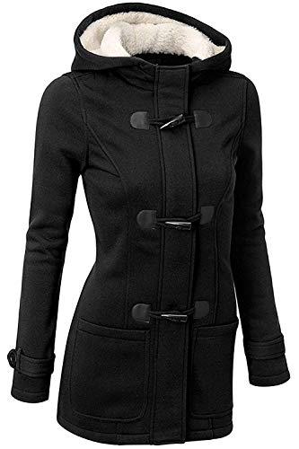 GHYUGR Femmes Manteaux à Capuche Bouton Corne Blouson Veste Jacket Chaud Épais Hoodie Hoody Outwear Automne Hiver Slim Fit,Noir,M