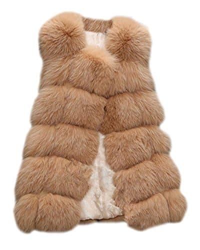 Long Gilet Vest Manteau Coat sans Manches en Fausse Fourrure pour Femme Chameau S