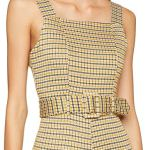 New Look Mustard Check Pinny, Combinaison Femme, Jaune (Yellow Pattern), 40 (Taille Fabricant: 12)