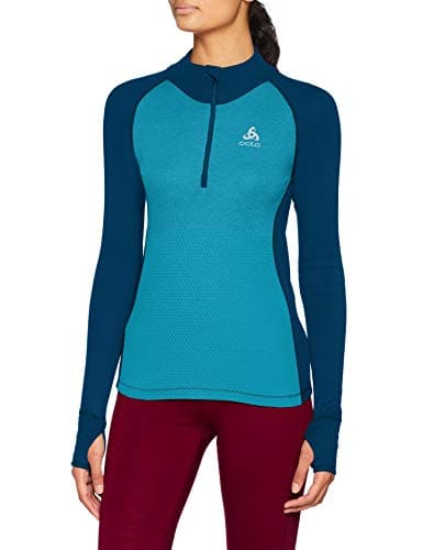 Odlo T- Shirt ML 1/2 Zip Active Warm REVELSTOKE Manches Longues Femme, Poseidon/Turkish Tile, FR : L (Taille Fabricant : L)