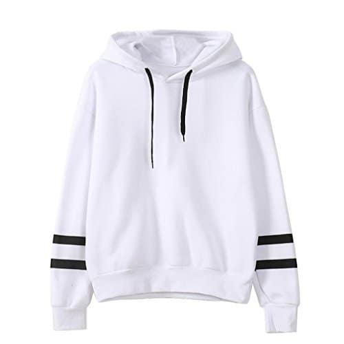 Reaso Sweat Shirt Hooded Sports Femme Automne Tops à Manches Longues Blouse Col Rond Casual Pull Elegant Dames Hiver Rayé Sweat-Shirt Coton Sweats à Capuche Chemisier (L, Blanc)