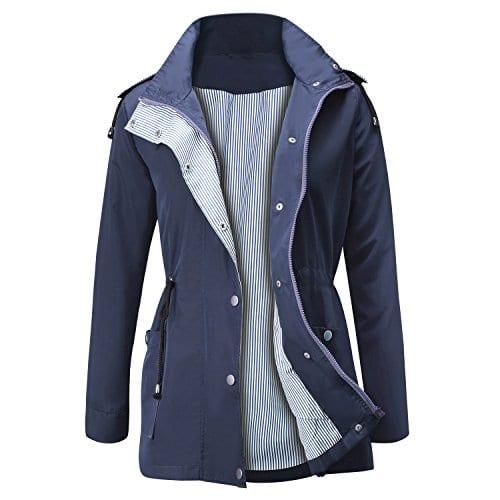 unbrand Femme Manteau Imperméable à Capuche Manches Longues Active Outdoor Veste de Pluie