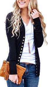 Aswinfon Gilet Femme Hiver Manche Longue Tricot Cardigans Pull Casual Col V avec Boutons Veste Chic (Noir, M)