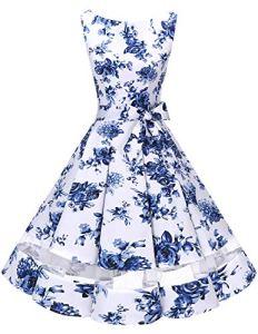 Bridesmay Robe Vintage rétro Audrey Hepburn années 50 Rockabilly sans Manches White Blue Flower 3XL