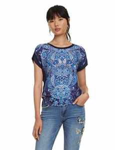 Desigual T- Shirt Short Sleeve NAVAJOS Woman Blue, Femme, Bleu Marine (5000), Taille L