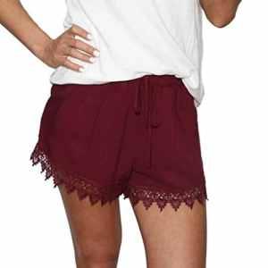Familizo Femmes Pantalons Courts D'été, Short en Dentelle épissée (Medium, Rouge)