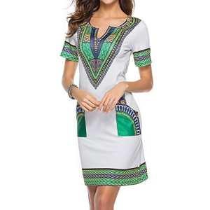 Femmes Manches Courtes Col En V Sexy Bodycon Pocket Tunique Robe Traditionnelle Africaine Impression Mini Robe Cocktail Soirée Multi Couleur M-3XL