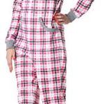 Merry Style Combinaison Pyjama Grenouillère Vêtement d'Intérieur Femme MS10-175(Rose Carreaux, M)