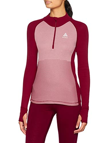 Odlo T- Shirt ML 1/2 Zip Active Warm REVELSTOKE Manches Longues Femme, Rumba Red/Mesa Rose, FR (Taille Fabricant : XL)