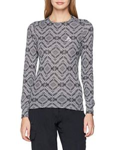 Odlo T Shirt ML Active Warm Kinship Manches Longues Femme, Mélange Gris, FR : S (Taille Fabricant : S)