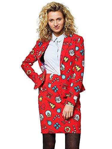 Opposuits Costume de Noël pour Femme en différentes Impressions, composé de Sakko et de Jupe – Rouge – 48