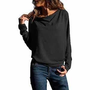 Sweat Col Bateau Femme Pull Simple Manche Longue Casaul Élégant Haut ModePrintemps Hutomne Hiver (Noir,S)